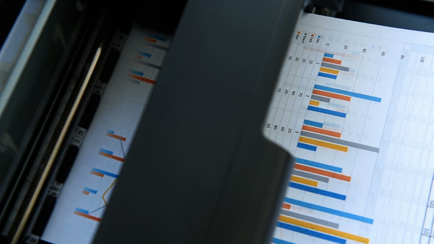 Stock Statistics Printed On Printer. Finance And Business Concept. Close Up