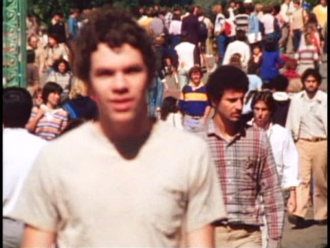 BERKELEY, CALIFORNIA, 1979, University of California multiple shots crowd walking