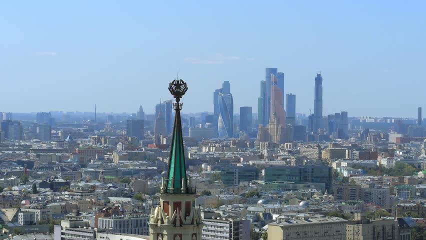 Flying over a modern russian city | Shutterstock HD Video #1020428944