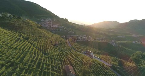 flight on the hills of Prosecco wine