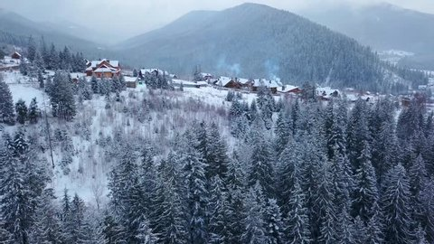 Revealing aerial of inhabited locality in the mountains on winter. Mountain village buildings on snowy hill slopes covered with snow. Countryside, fir tree and pine forest. Cottages of ski resort.