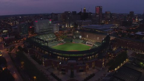 Baltimore, Maryland / United States - May 9 2018: Drone Shot of Oriole Park at Night