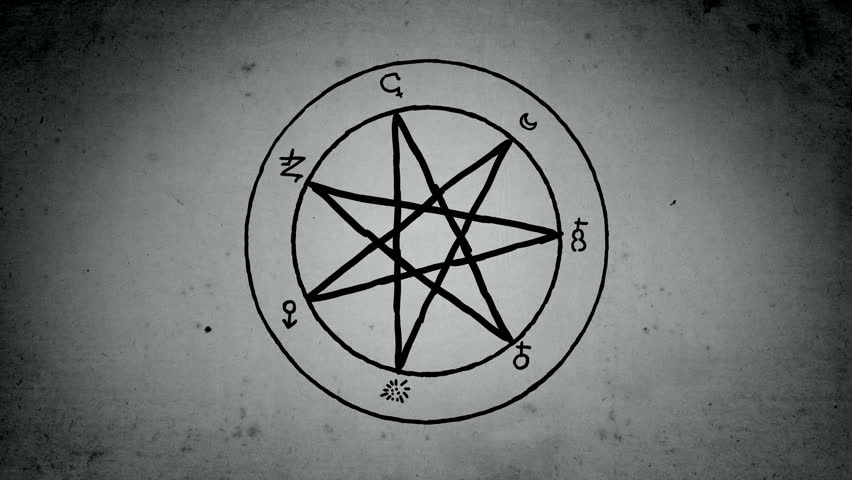 Mystical planetary scheme days of the week ancient astrological medieval esoteric heptagram star lines drawing animation | Shutterstock HD Video #1020667114