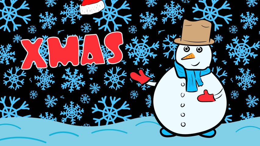 Snowman xmas and dark blue snowflakes | Shutterstock HD Video #1020702244