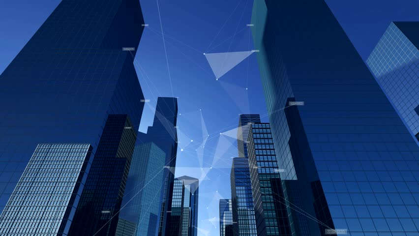 City buildings filled with high tech style infomation and data lines and blue sky.