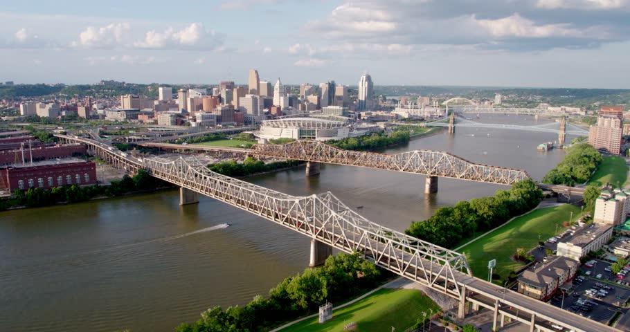 Drone Shot of Cincinatti Skyline, Ohio River | Shutterstock HD Video #1020766924