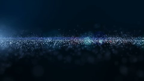 Abstract blue color digital particles wave with dust and light motion background