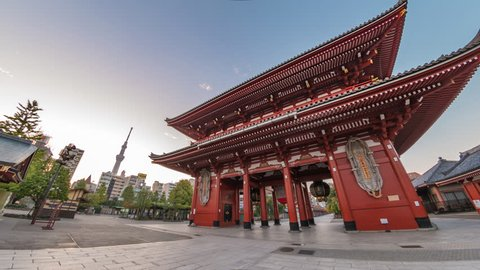 Tokyo Japan time lapse 4K, city skyline sunrise timelapse at Asakusa Temple (Senso-Ji)