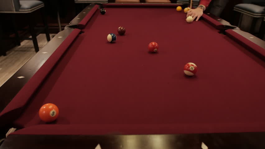 Wide pool table shot for 11 ball | Shutterstock HD Video #1020830164