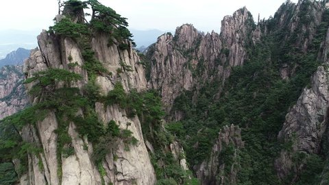 Aerial view of rugged mountain landscape of Huangshan national park in China