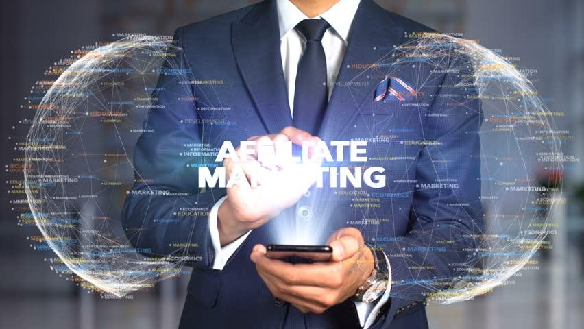 Businessman Hologram Concept Tech - AFFILIATE MARKETING   Shutterstock HD Video #1020898654