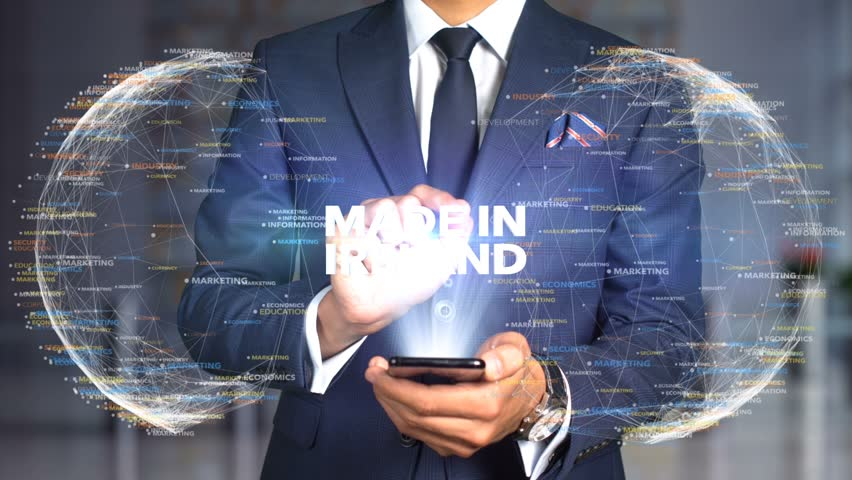 Businessman Hologram Concept Made In - Made In Ireland   Shutterstock HD Video #1020898894