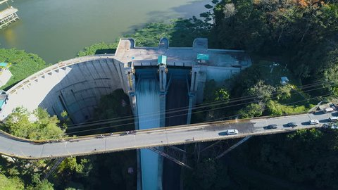 Drone view of hydroelectric power plant dam. Flying over structure of hydroelectric plant for renewable energy generation.