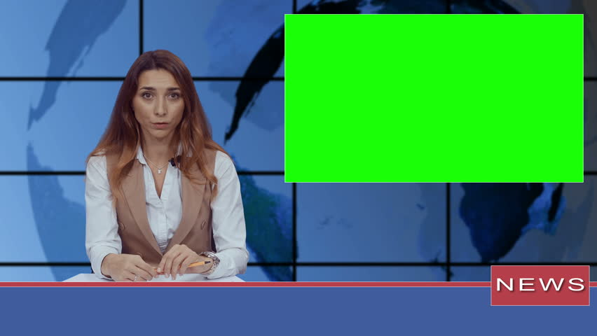 Female news presenter in broadcasting studio with green screen display for mockup usage | Shutterstock HD Video #1020926644