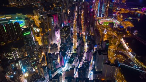 HONG KONG - OCTOBER 5 2018: night time illuminated cityscape wan chai district aerial timelapse panorama 4k circa october 5 2018 hong kong.