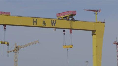 Belfast, Ulster / United Kingdom (UK) - 09 03 2018: Harland and Wolff Crane, Belfast, Northern Ireland