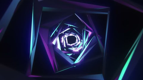 Animation of proton purple color technology tunnel. Futuristic metal corridor with reflection. Neon light.