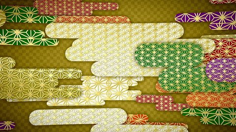 """Japanese traditional parten of clouds [loop]  japanese traditional pattern """"asanohamonyo"""". """"asanohamonyo"""" is hemp leaf pattern. pattern meaning of amulet."""
