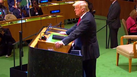 CIRCA 2018 - U.S. President Donald Trump addresses the United Nations General Assembly in New York and is laughed at by world leaders.