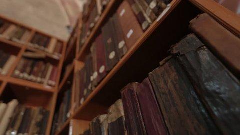 Old books on the shelf. AMASYA/TURKEY