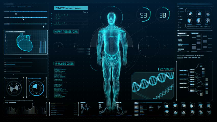 Rotating Human muscle system in digital display, UI, Future medical technology, X-ray light. 4k animation.