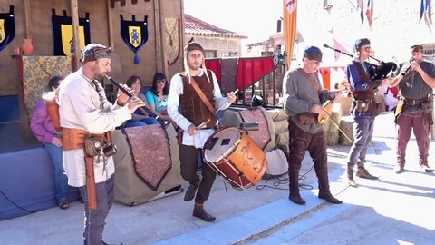 Penedono, Portugal - 07 01 2017: Penedono, Portugal / July 1, 2017 - Medieval Fair - Drum and Pipe Corp Starts w-Sound