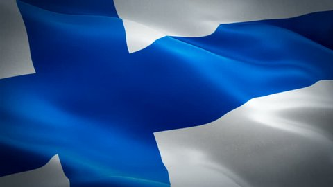 Finland flag video waving in wind. Realistic Finnish Flag background. Finland Flag Looping Closeup 1080p Full HD 1920X1080 footage. Finland EU European country flags footage video for film,news