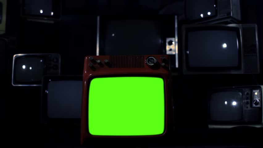 "Vintage Tv Turning Off Green Screen. Dark Tone. Zoom Out. Ready to replace green screen with any footage or picture you want. You can do it with ""Keying"" (Chroma Key) effect. 