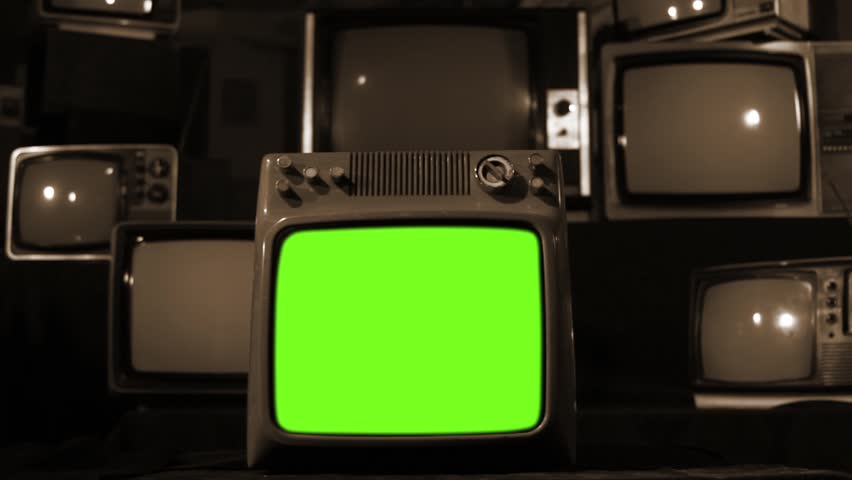 "Vintage Tv Turning Off Green Screen with Static. Sepia Tone. Zoom Out. Ready to replace green screen with any footage or picture you want. You can do it with ""Keying"" (Chroma Key) effect. 