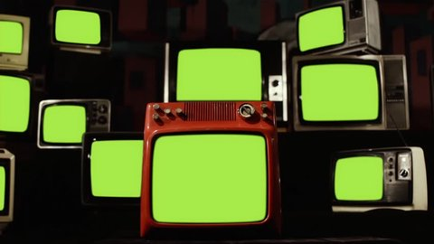 "Vintage tvs turning on and turning off green screen  ready to replace green  screen with any footage or picture you want  you can do it with ""keying""  (chroma key) effect in adobe after effects"