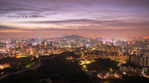 Time Lapse Beautiful sunrise of Seoul,cityscapse at inwangsan mountain in South Korea.