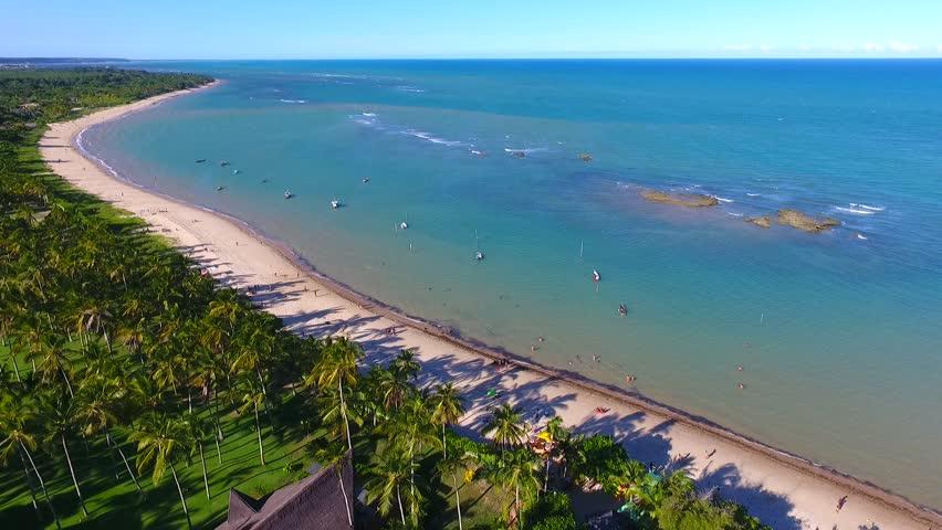 Aerial view of Arraial d'Ajuda beach, Porto Seguro, Bahia, Brazil. Great beach scene. Fantastic landscape. Vacation travel. Travel destination. Vacation concept. Caribbean. | Shutterstock HD Video #1021536424