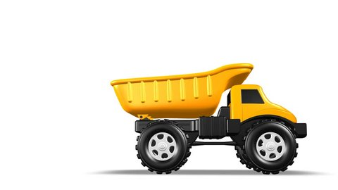 Yellow 3D Toy Dump Truck Rolls into Frame and Bed Lifts Animation 4K