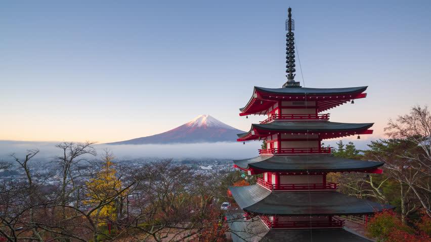 4K Time lapse of Mt. Fuji with Chureito Pagoda in autumn, Fujiyoshida, Japan | Shutterstock HD Video #1021587034