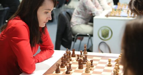 ST. PETERSBURG, RUSSIA - DECEMBER 27, 2018: Grandmaster Kateryna Lagno, Russia competes in King Salman World Rapid Chess Championship 2018. Eventually she took 7th place