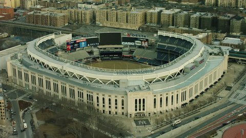 New york, united states of america circa 2018 - aerial view of the yankee  stadium in the bronx, new york city, with soft natural day light  shot on  4k red camera