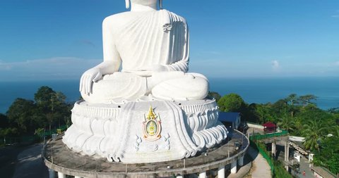 White Marble Big Buddha Statue Temple. Close Up Aerial View. Phuket Thailand