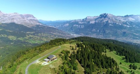mountain landscape (alps) in aerial view, France