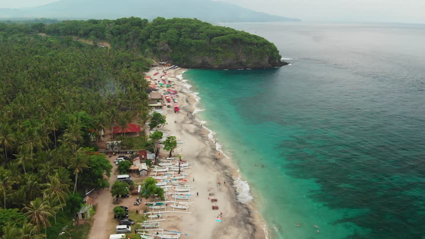 Aerial view flying over the tropical virgin beach, Bali island. Asia. | Shutterstock HD Video #1021826074