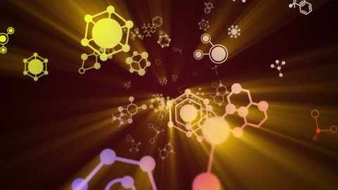Molecules, Chemistry, Abstract, Animation, Background, Rendering, Loop, with Alpha Channel, 4k