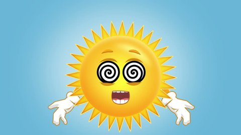 Cartoon Cute Sun Hypnosis with Face for Kids Animation with Alpha Matte