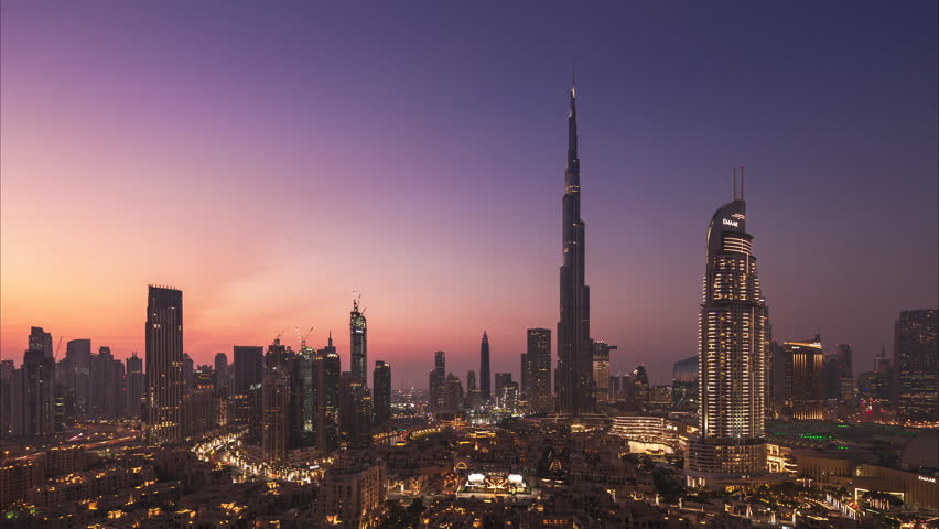 4K Timelapse - City Skyline and cityscape at sunset in Dubai. UAE | Shutterstock HD Video #1021842754