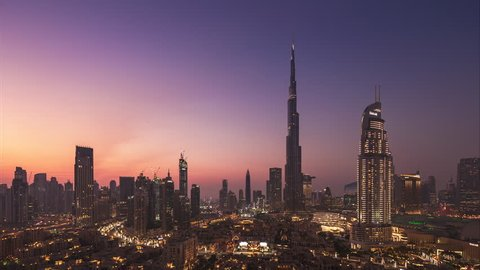 4K Timelapse - City Skyline and cityscape at sunset in Dubai. UAE
