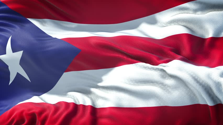 Realistic Flag of Puerto Rico Loop