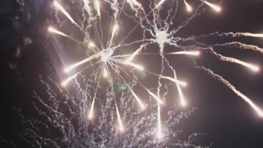 Abstract colored fireworks in the night sky. background copy space | Shutterstock HD Video #1021924114
