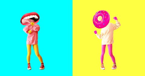 Minimal motion design art. Gif set. Dancing funny licking Lips and Donut Girl.