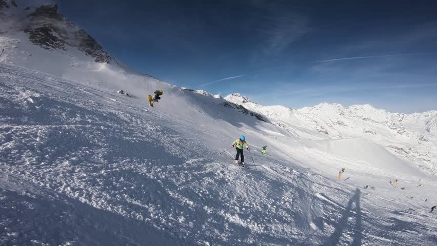 Winter time in Alps and skiers. Stubaier Gletscher  #1022032504