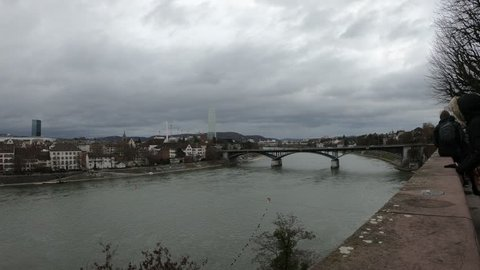 Basel / Switzerland – December 8, 2018: of the Rhine River and Kleinbasel from the the Basel Pfalz in Basel, Switzerland.
