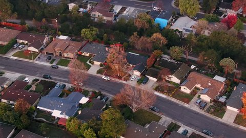 Aerial View Over Silicon Valley Sunnyvale and Suburban Houses