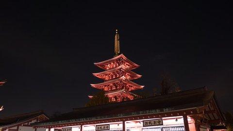 Asakusa Senso-Ji temple and pagoda 4k night hyperlapse